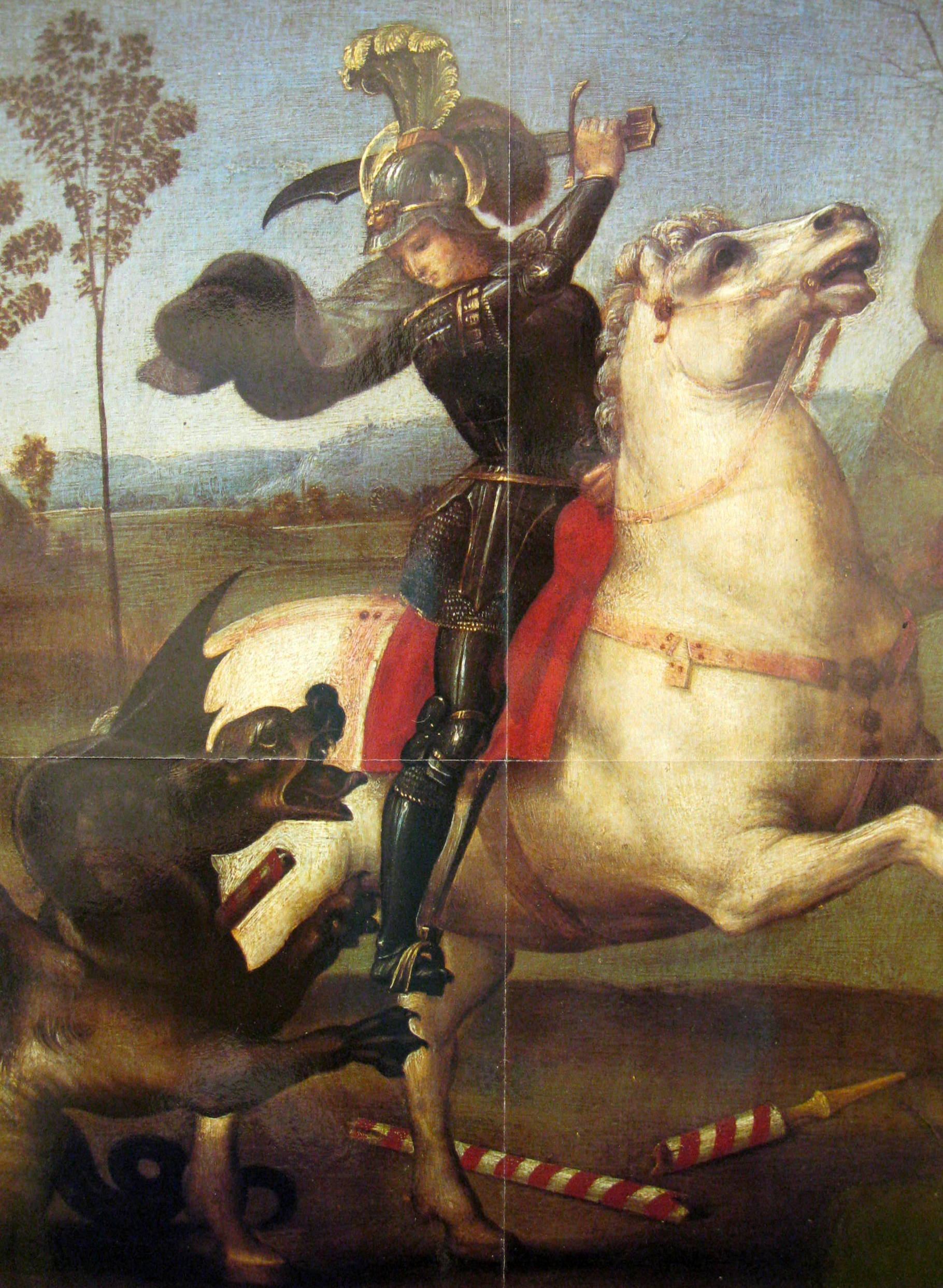 Saint George And The Dragon By Raphael Sanzio