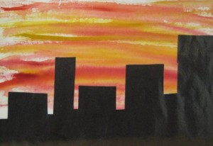 City skyline at sunset - Cityscapes art sample