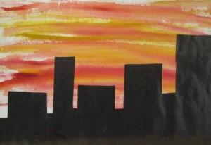 City skyline at sunset - Cityscapes art sample